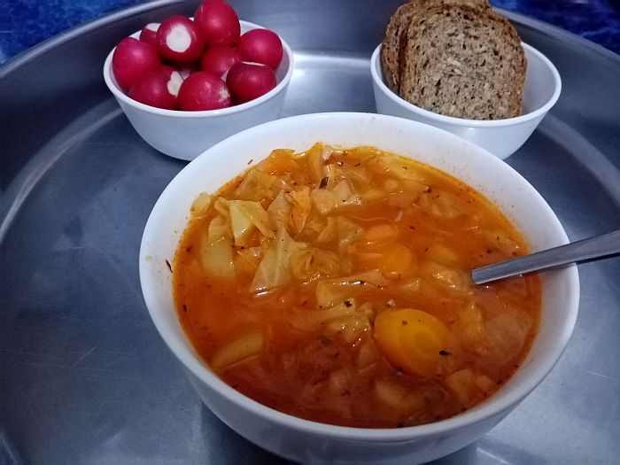 Vegan Cabbage Soup Served