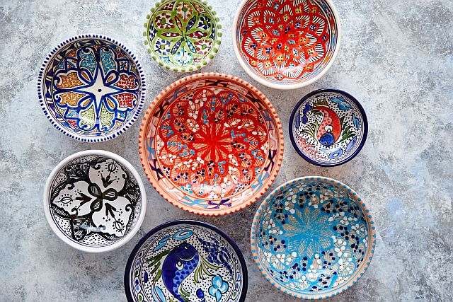 colorful ceramic bowls from Morocco